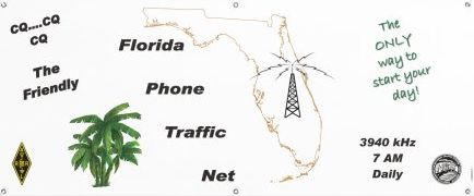 Our new official FPTN banner with a white background, outline of Florida, a tower superimposed over the state, and palm trees in the Gulf of Mexico. The words CQ, CQ, CQ the Friendly Florida Phone Traffic Net and The Only way to start your day are also displayed.